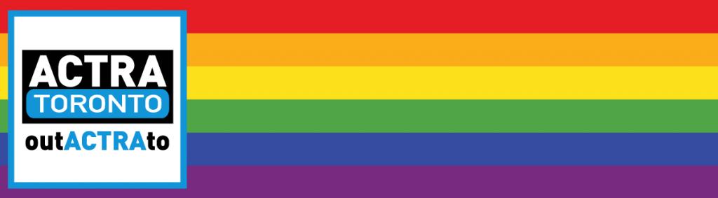 outACTRAto logo on Pride rainbow flag bg